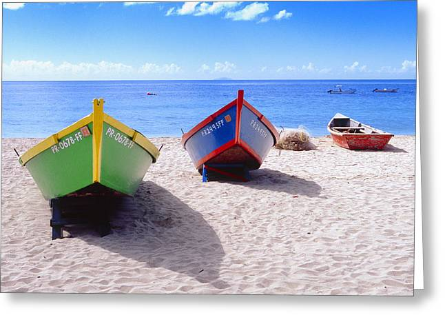 Frontal View Of Fishing Boats On Crash Boat Beach Puerto Rico Greeting Card by George Oze