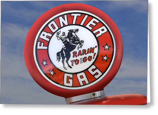 Service Station Greeting Cards - Frontier Gas Globe Greeting Card by Mike McGlothlen