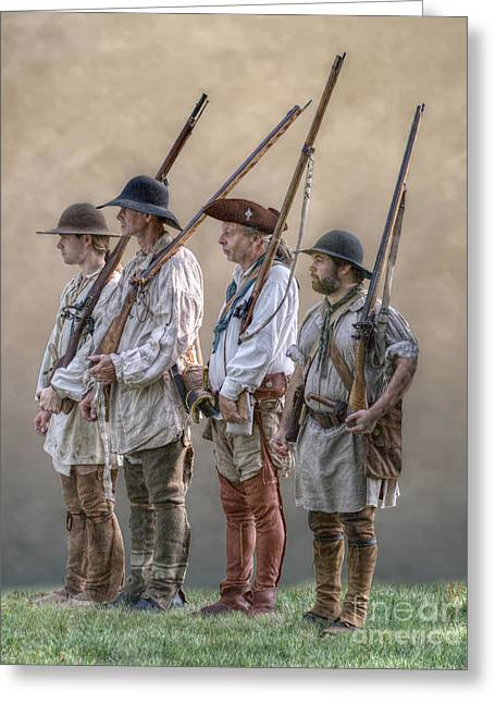 Citizens Greeting Cards - Frontier Militiamen Greeting Card by Randy Steele