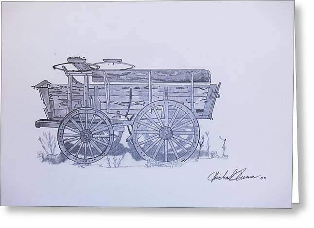 Wooden Wagons Drawings Greeting Cards - Frontier Wagon Greeting Card by Michael Runner