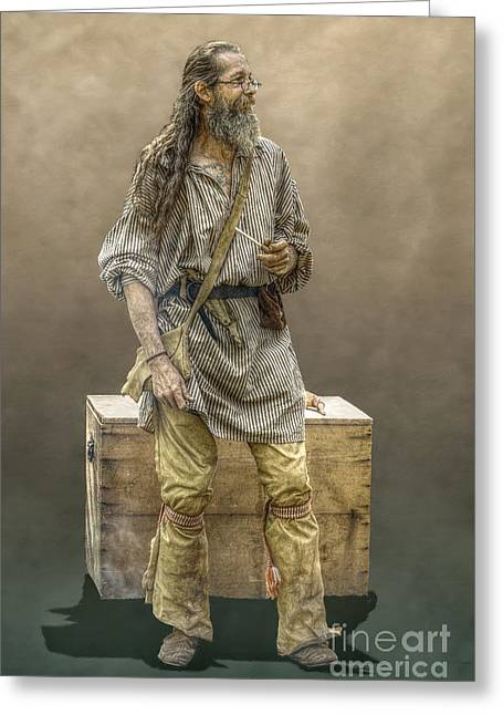 Fort Pitt Greeting Cards - Frontiersman Camp Trader  Greeting Card by Randy Steele