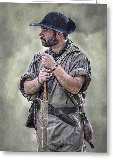 Rogers Rangers Greeting Cards - Frontiersman Ranger Scout Portrait Greeting Card by Randy Steele