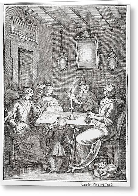 Naples Drawings Greeting Cards - Frontspiece Of The 1742 Bolognese Greeting Card by Ken Welsh