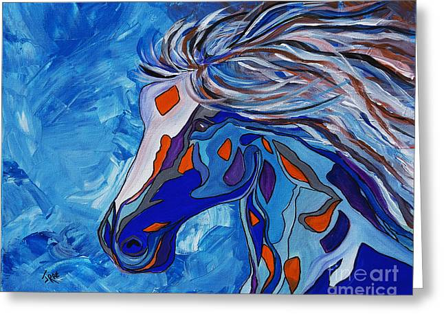 Abstract Shapes Greeting Cards - Frost Abstract Horse Greeting Card by Janice Rae Pariza