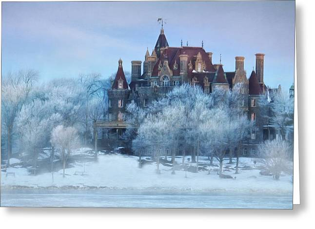 Fog Mixed Media Greeting Cards - Frosted Castle Greeting Card by Lori Deiter