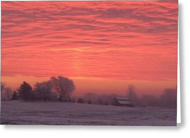 Frosty Pastels Greeting Cards - Frosted Farm Greeting Card by Desiree Gatza