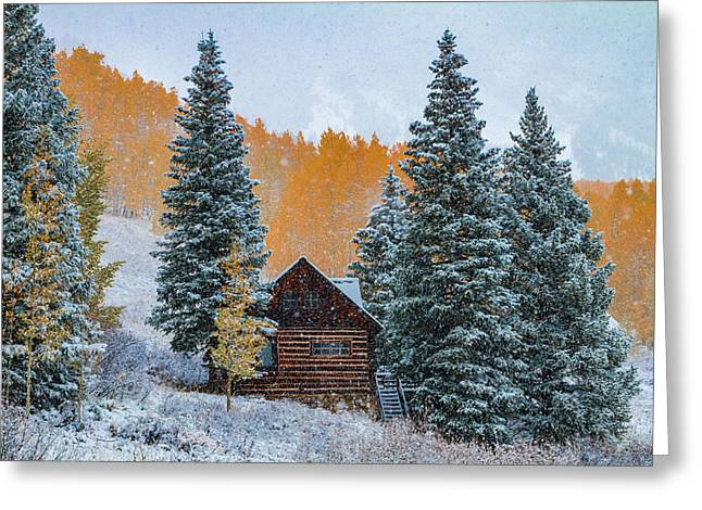 Frosty Autumn Mountain Cabin Greeting Card by Teri Virbickis