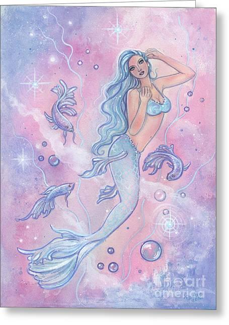 Frosty Betta Mermaid Greeting Card by Renee Lavoie