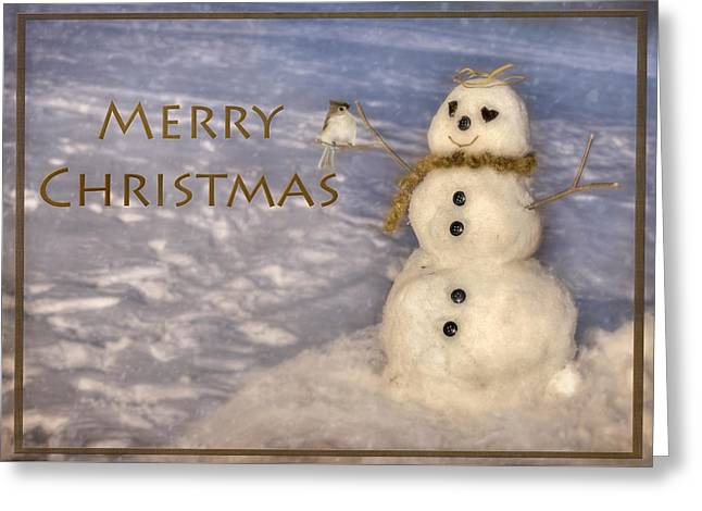 Cute Mixed Media Greeting Cards - Frosty Merry Christmas Greeting Card by Lori Deiter