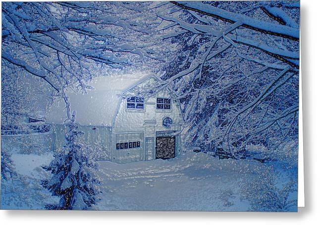 Snowy Evening Digital Art Greeting Cards - Frosty Moonlight Barn Greeting Card by Suzana Mestric