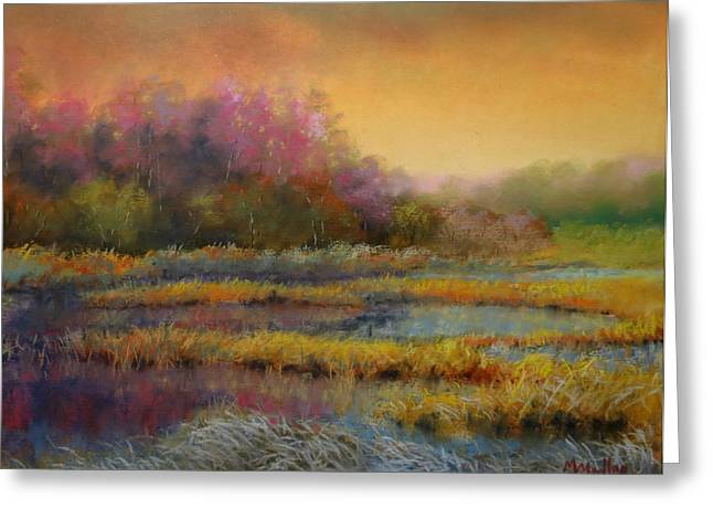 Wetlands Pastels Greeting Cards - Frosty Morning Marsh Greeting Card by Marcus Moller
