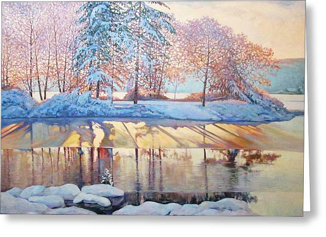 Reflection In Water Greeting Cards - frosty Morning Greeting Card by Yuri Sapozhnikov