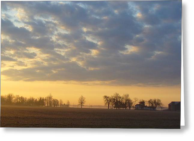 Frosty Spring Sunrise Greeting Card by Peggy King