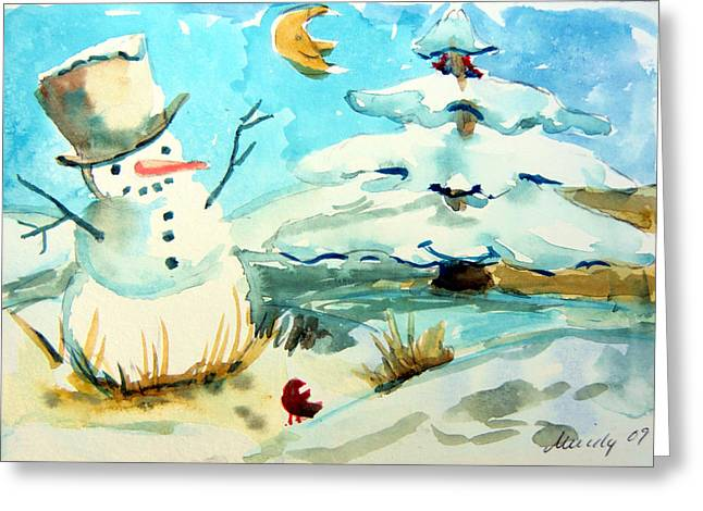 Pine Tree Drawings Greeting Cards - Frosty the Snow Man Greeting Card by Mindy Newman