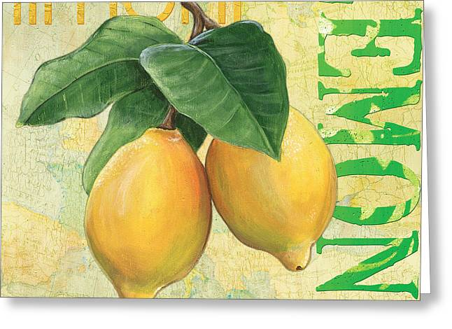 Word Greeting Cards - Froyo Lemon Greeting Card by Debbie DeWitt