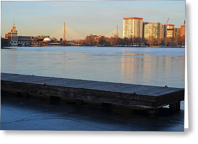 Charles River Greeting Cards - Frozen dock on the Charles River Greeting Card by Toby McGuire