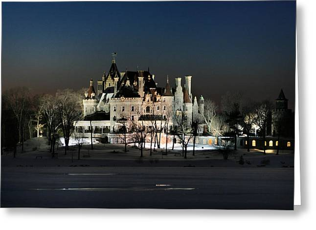 Winter Scenery Greeting Cards - Frozen Boldt Castle Greeting Card by Lori Deiter