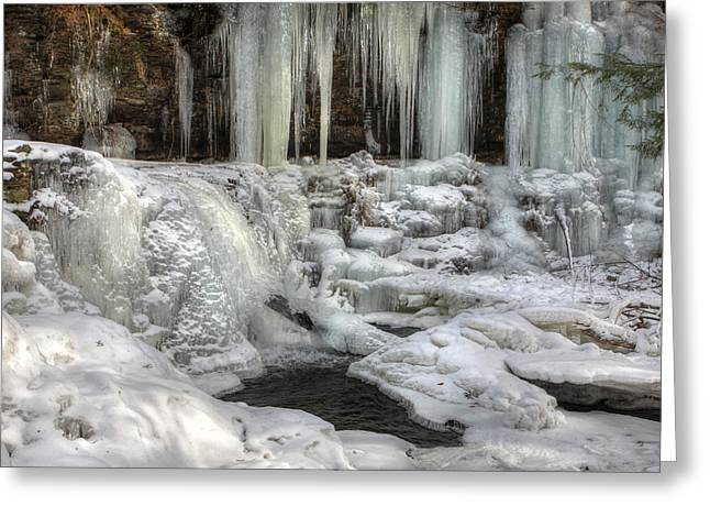 Wintry Photographs Greeting Cards - Frozen Cayuga Falls in HDR Greeting Card by Lori Deiter