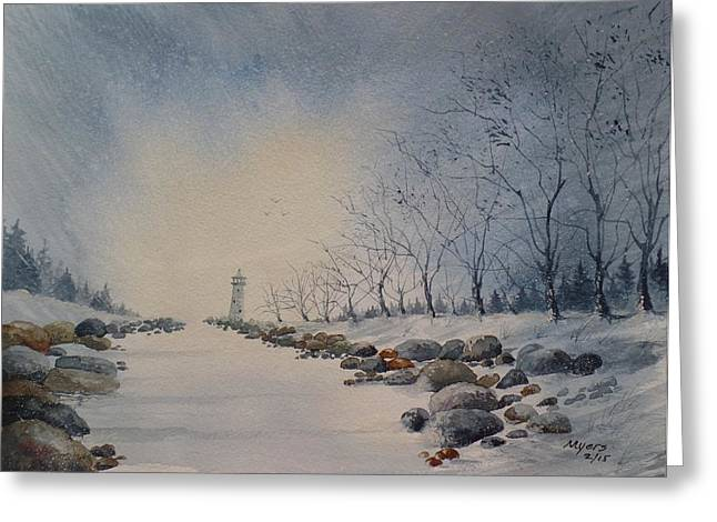 Recently Sold -  - Winter Storm Greeting Cards - Frozen Channel Greeting Card by David K Myers
