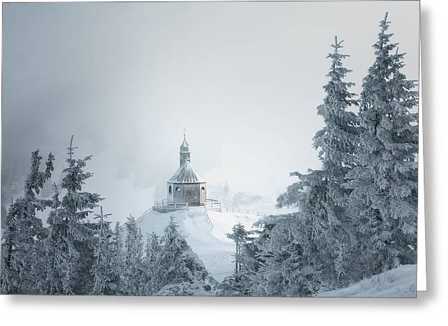 Fog Greeting Cards - Frozen Chapel Greeting Card by Marei