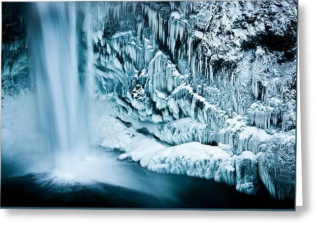 Impacting Greeting Cards - Frozen Falls Greeting Card by Thorsten Scheuermann