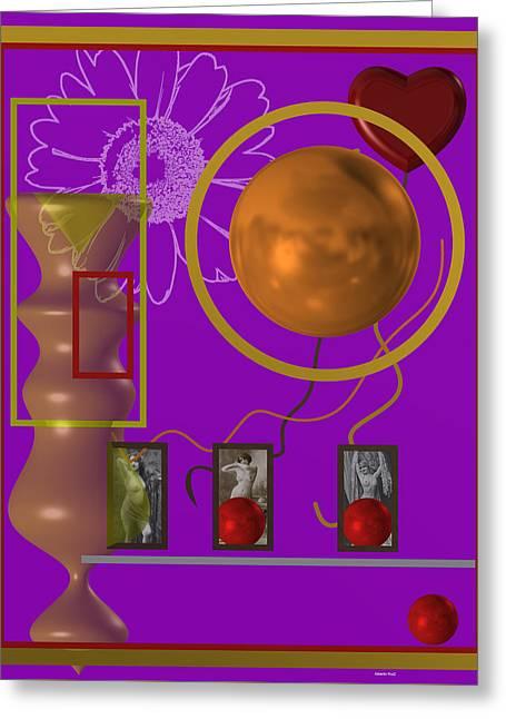 Geometric Greeting Cards - Frozen heart 3 Greeting Card by Alberto  RuiZ