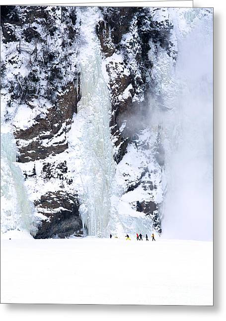 Extreme Sport Greeting Cards - Frozen Montmorency Falls  Greeting Card by Jane Rix