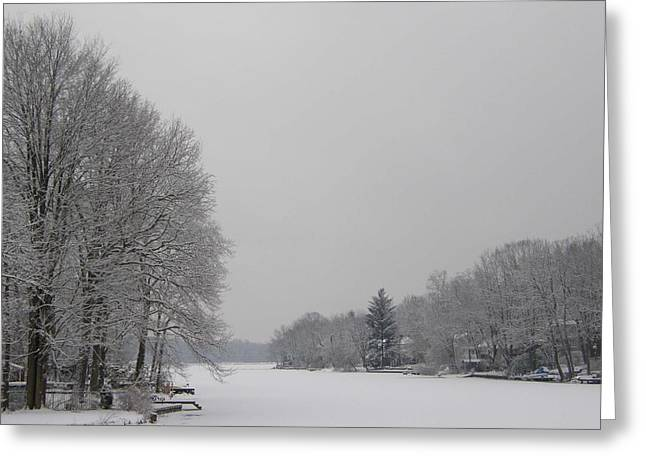 Wayne - New Jersey Greeting Cards - Frozen Packanack Lake Greeting Card by James Yellen