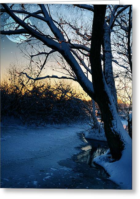 Snowy Evening Greeting Cards - Frozen River Greeting Card by  Jaroslaw Grudzinski