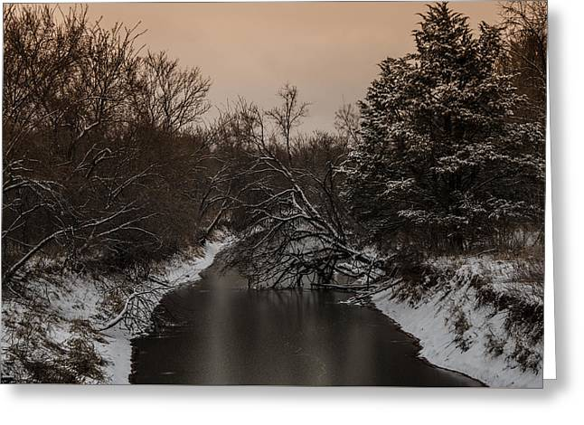 White River Scene Pyrography Greeting Cards - Frozen River Greeting Card by Mark Burgess