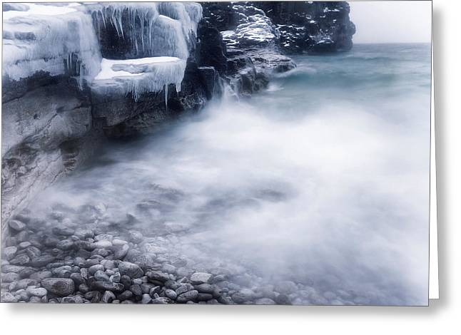 Snow Scene Landscape Greeting Cards - Frozen shore of Georgian Bay in winter Greeting Card by Oleksiy Maksymenko