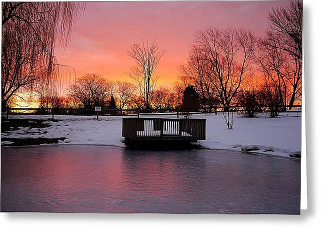 Marvelous View Greeting Cards - Frozen Sunrise Greeting Card by Frozen in Time Fine Art Photography