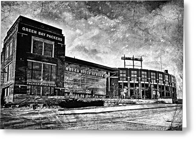 Lambeau Field Greeting Cards - Frozen Tundra - Black and White Greeting Card by Joel Witmeyer