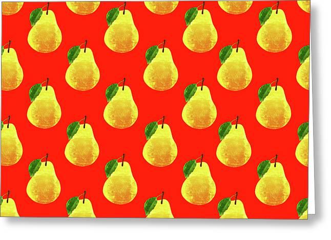 Fruit 03_pear_pattern Greeting Card by Bobbi Freelance