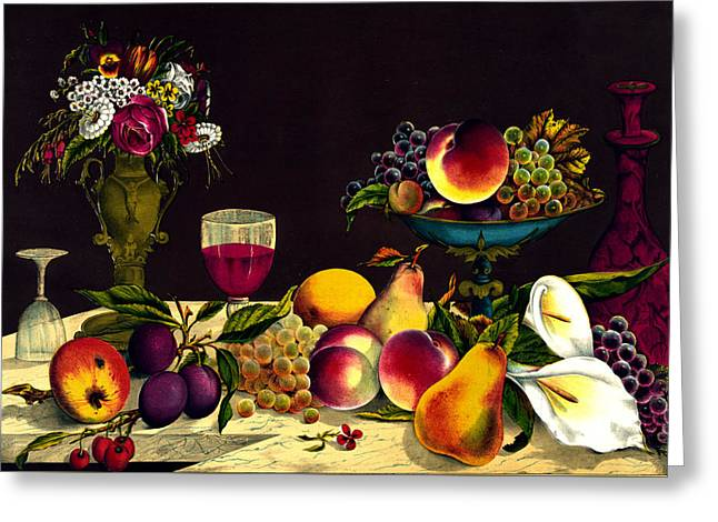 Watermelon Greeting Cards - Fruit and Flowers - Vintage Painting Greeting Card by Just Eclectic