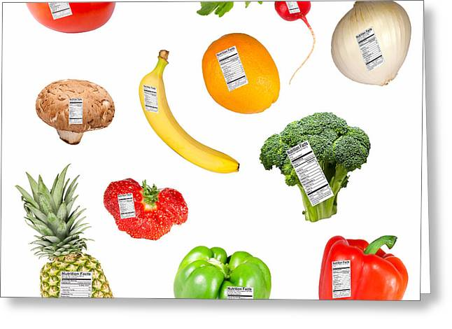 Label Greeting Cards - Fruit and vegetables with nutrition labels Greeting Card by Karen Foley