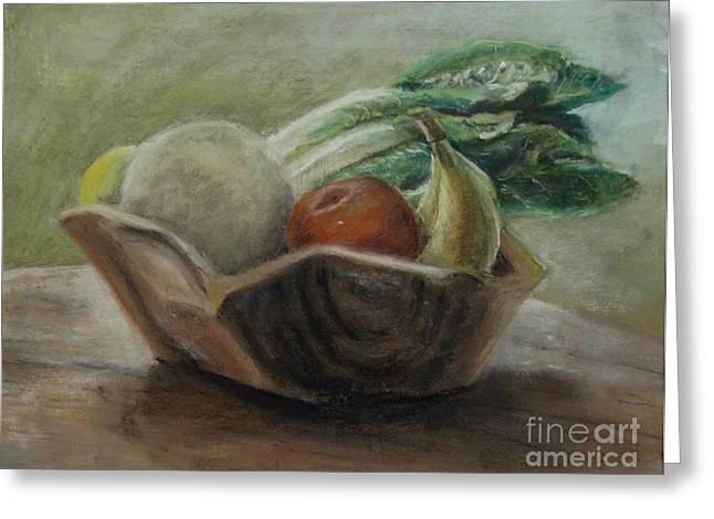 Wooden Bowls Paintings Greeting Cards - Fruit and Veggie Bowl Greeting Card by Elizabeth  Ellis