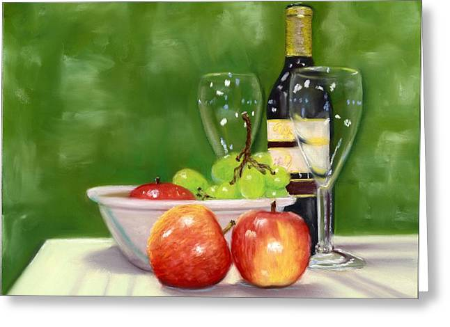 Italian Kitchen Pastels Greeting Cards - Fruit and Wine Greeting Card by Kathryn Foster