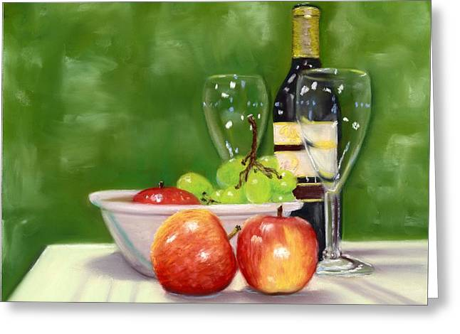 Cabernet Pastels Greeting Cards - Fruit and Wine Greeting Card by Kathryn Foster