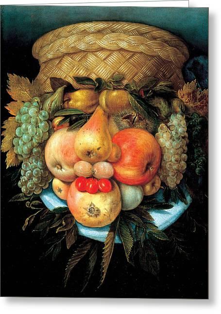 Fruit Basket Greeting Card by Giuseppe Arcimboldo