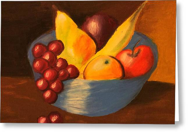 Blue Grapes Greeting Cards - Fruit Bowl Greeting Card by AJ Ulwelling