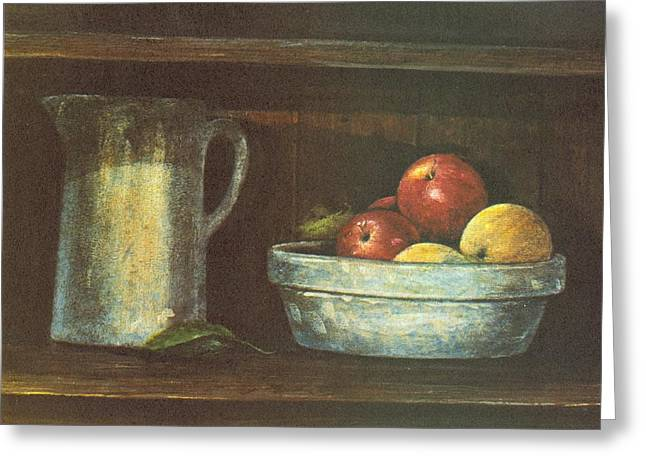 Pottery Pitcher Paintings Greeting Cards - Fruit Bowl Greeting Card by Charles Roy Smith