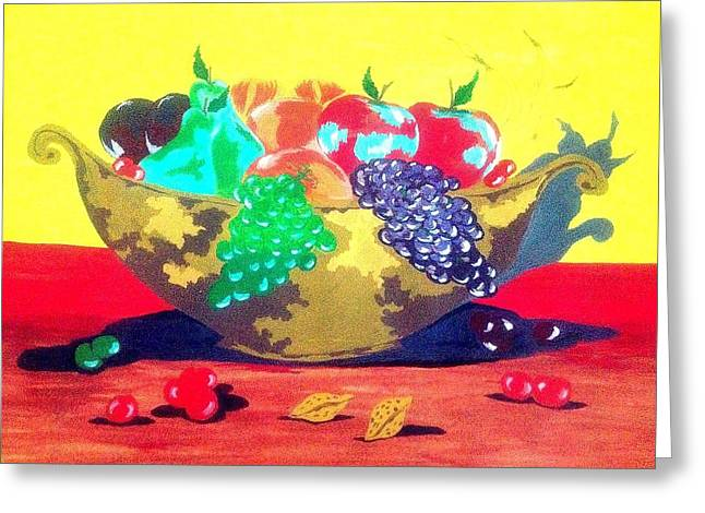 Boats In Water Greeting Cards - Fruit bowl Greeting Card by David Perkins