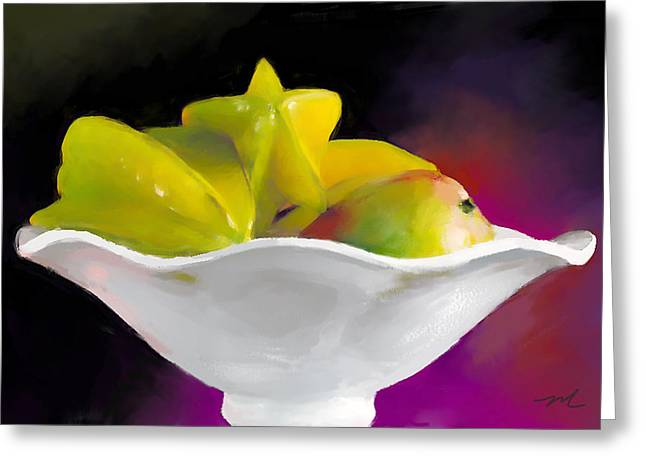 Mango Greeting Cards - Fruit Bowl Greeting Card by Michelle Wiarda
