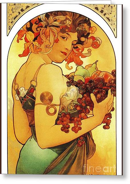 Peach Drawings Greeting Cards - Fruit by Alfons Mucha Greeting Card by Heidi De Leeuw