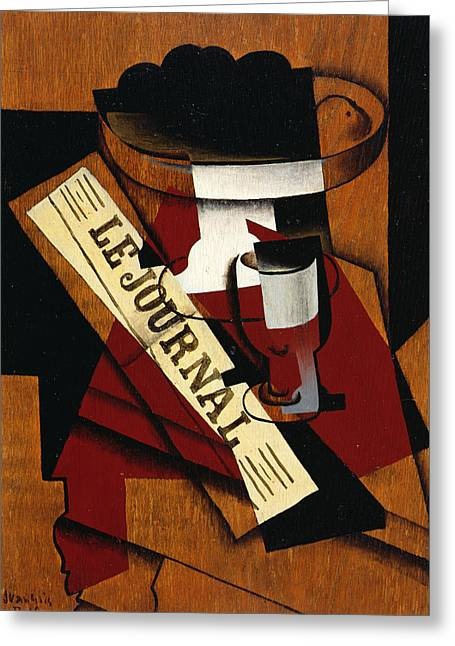 Fruit Dish Glass And Newspaper Greeting Card by Juan Gris