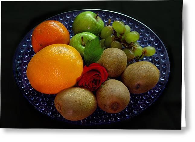 Tangerine Greeting Cards - Fruit Dish Greeting Card by Peter Piatt