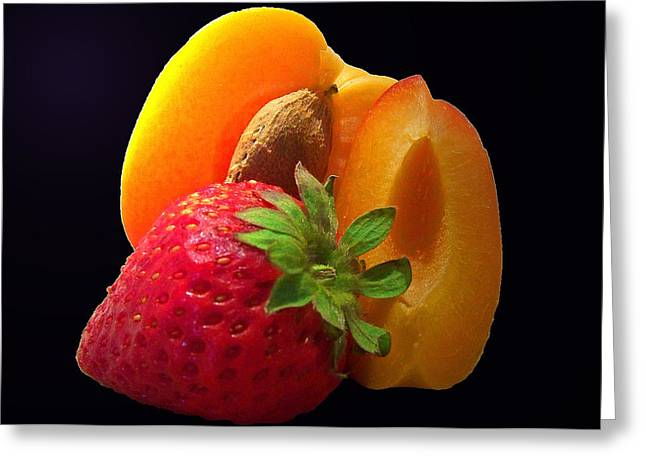 Apricot Greeting Cards - Fruit Display Greeting Card by Amanda Vouglas