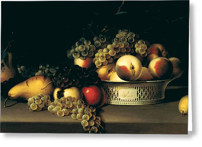 Fruit In A Chinese Export Basket Greeting Card by James Peale