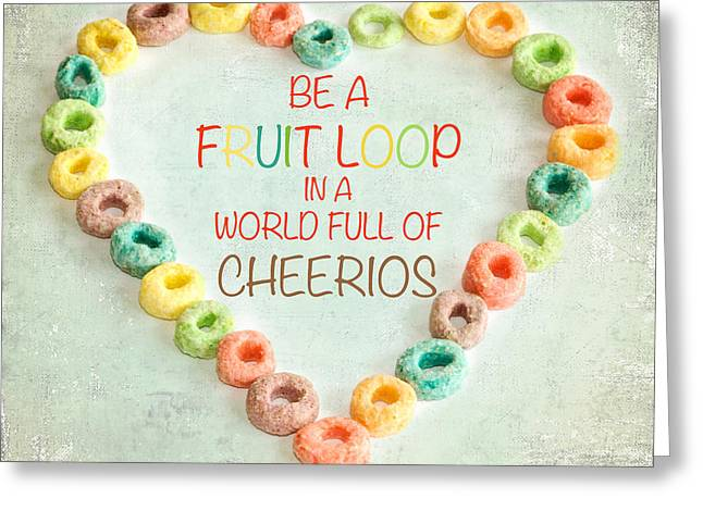Silly Greeting Cards - Fruit Loop Greeting Card by Kim Fearheiley